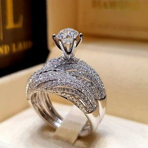 NEW 925 Silver Diamond Wave Solitaire Ring Set